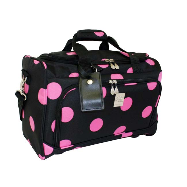 Jenni Chan Black/ Pink Dots 18 Inch City Carry On Duffel Bag - Thumbnail 0