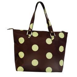 Jenni Chan Women's Green/Brown Dots Laptop Tote Bag - Thumbnail 1