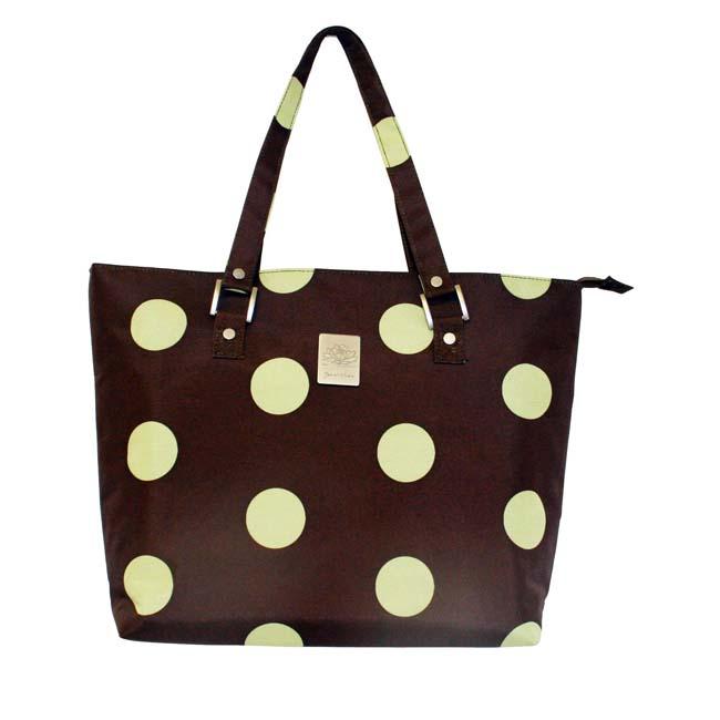 Jenni Chan Women's Green/Brown Dots Laptop Tote Bag