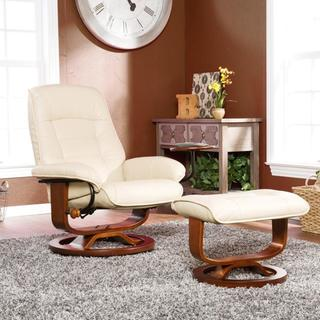 Harper Blvd Windsor Taupe Leather Recliner and Ottoman Set