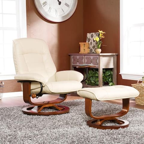 Copper Grove Burdwood Taupe Leather Recliner and Ottoman Set