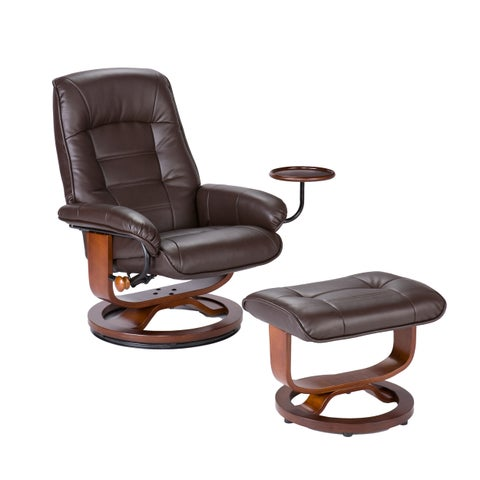 Strick & Bolton Sonny Brown Leather Recliner and Ottoman Set
