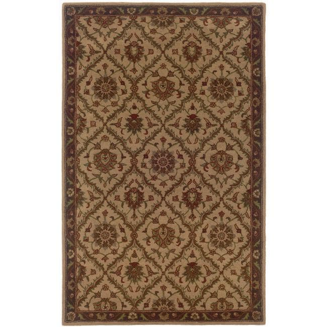 Hand-tufted Beige and Brown Wool Area Rug (8' x 10') - Thumbnail 0