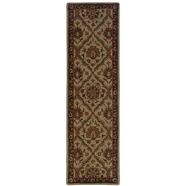 Hand-tufted Beige Wool Area Rug (2'3 x 8)