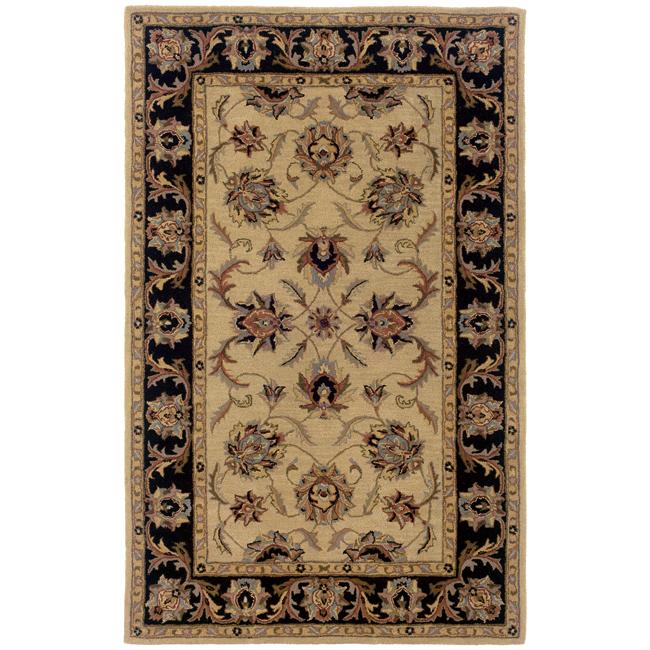 Hand-tufted Beige and Black Wool Area Rug - 8' x 10'