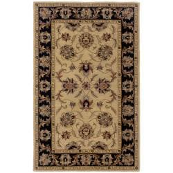 Hand-tufted Beige and Black Wool Area Rug - 8' x 10' - Thumbnail 0