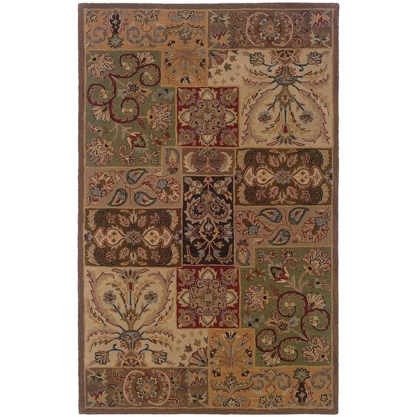 Hand-tufted Wool Multi-color Panel Rug - 8' x 10'