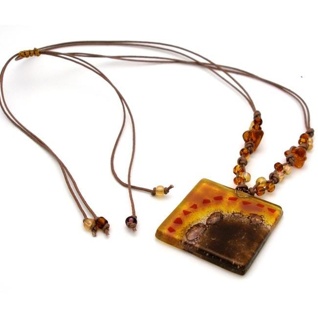 Cotton and Fused Glass Golden Brown Square Necklace (Chile)
