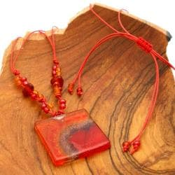 Handmade Cotton and Fused Glass Lava Square Necklace (Chile)