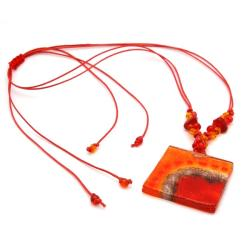 Cotton and Fused Glass Lava Square Necklace (Chile)