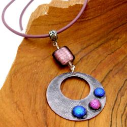 Silver, Glass and Leather Purple Round Enamel Necklace (Chile)