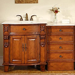 Silkroad Exclusive Wood and Crema Marble Single Bathroom Vanity