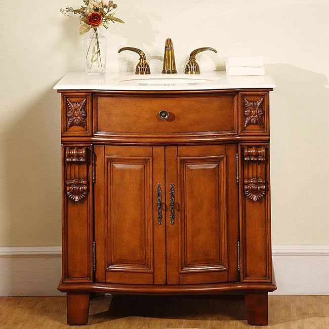 Silkroad Exclusive Wood And Marble 33 Inch Bathroom Vanity Single Sink  Cabinet