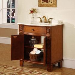 Silkroad Exclusive Wood and Marble 33-inch Bathroom Vanity Single Sink Cabinet - Thumbnail 1