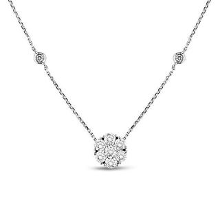 Miadora Signature Collection 14k White Gold 1 1/2ct TDW Diamond Station Necklace (G-H, SI1)