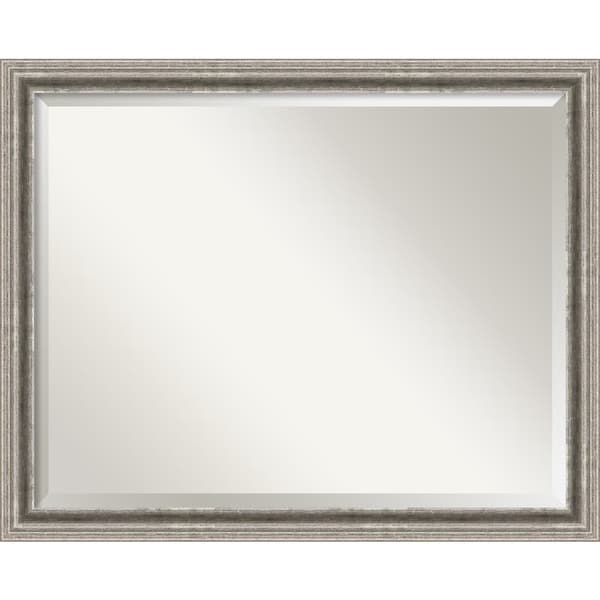 Wall Mirror Large, Bel Volto Silver 31 x 25-inch - Pewter