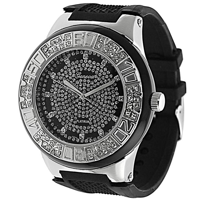 Black Geneva Platinum Men's Rhinestone-accented Silicone Watch