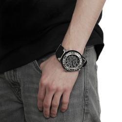 Black Geneva Platinum Men's Rhinestone-accented Silicone Watch - Thumbnail 2