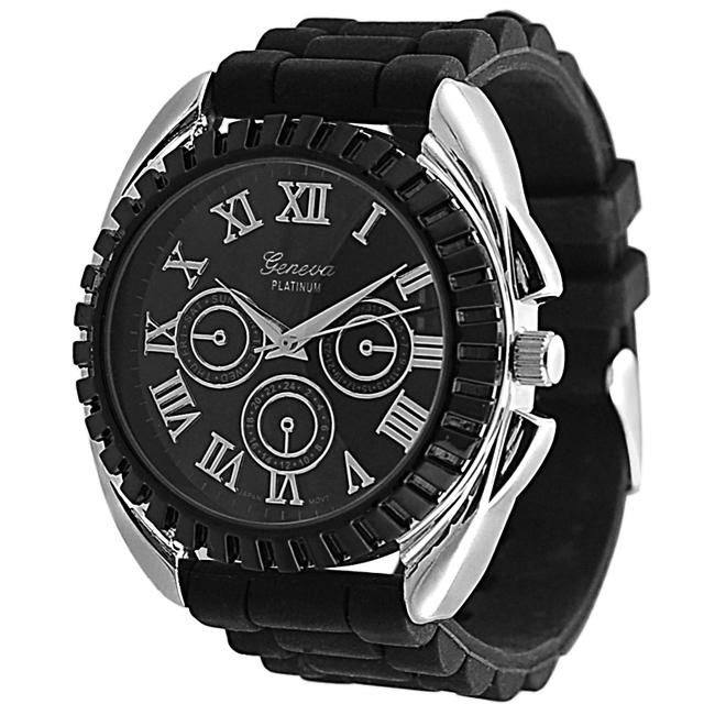 Geneva Platinum Men's Water-resistant Chronograph-style Silicone Watch