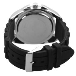 Geneva Platinum Men's Water-resistant Chronograph-style Silicone Watch - Thumbnail 1