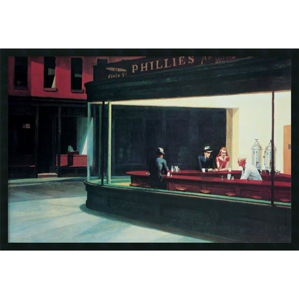 Edward Hopper 'Nighthawks, 1942' Framed Art Print with Gel Coated Finish