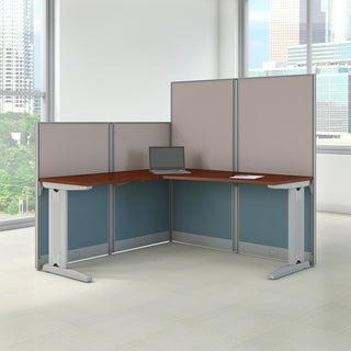 Office in an Hour 65W L Shaped Cubicle Workstation in Hansen Cherry - Brown/Grey