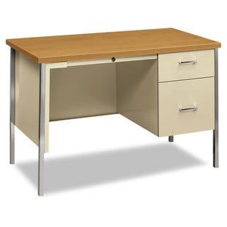 HON 34000 Series Right Pedestal Desk 45 1/4-inch wide x 24-inch deep x 29 1/2-inch high Harvest/Putty