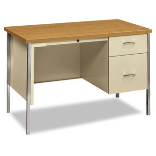 HON 34000 Series Right Pedestal Desk 45 1/4-inch wide x 24-inch deep x 29 1/2-inch high Harvest/Putty