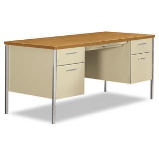 Link to HON 34000 Series Double Pedestal Desk, Harvest/Putty Similar Items in Computer Desks