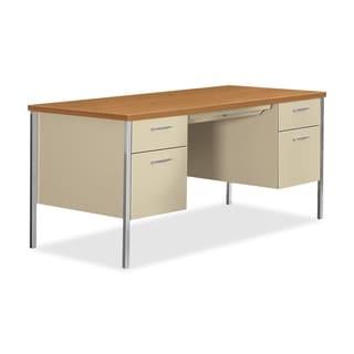 HON 34000 Series Double Pedestal Desk 60-inch wide x 30-inch deep x 29 1/2-inch high Harvest/Putty