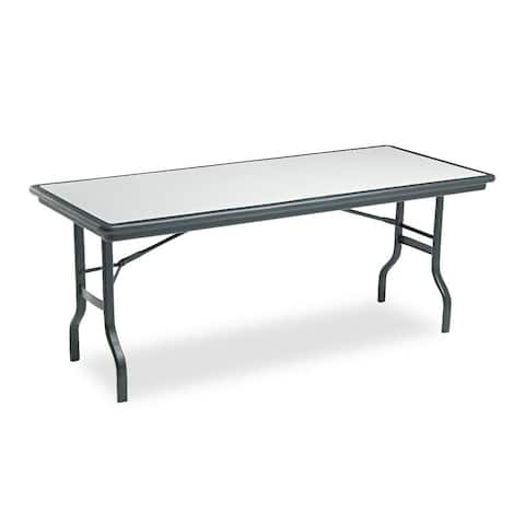 Iceberg IndestrucTables Resin Rectangular Folding Table 72-inch wide x 30-inch deep x 29-inch high Granite/Black