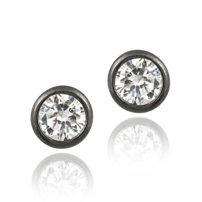 Icz Stonez Black Rhodium over Silver 5-mm Cubic Zirconia Stud Earrings