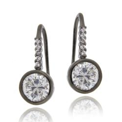 Icz Stonez Black Rhodium over Silver Cubic Zirconia Dangle Earrings