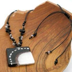Cotton and Fused Glass White and Black Square Necklace (Chile) - Thumbnail 1