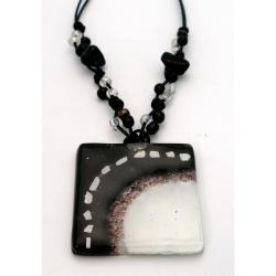 Cotton and Fused Glass White and Black Square Necklace (Chile) - Thumbnail 2