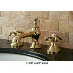 French Country Widespread Polished Brass Bathroom Faucet - Thumbnail 2