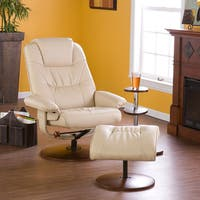 Carson Carrington Aeduvik Taupe Leather Recliner and Ottoman