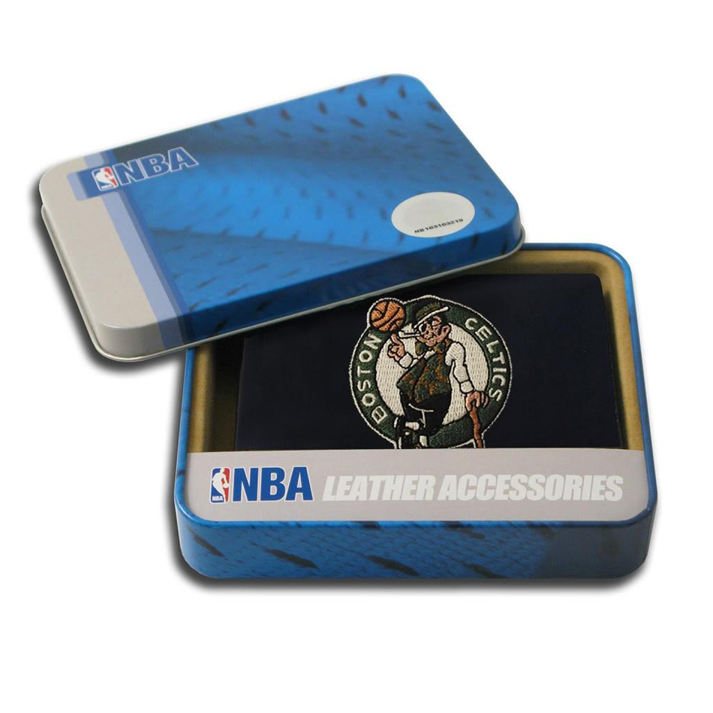 Boston Celtics Men's Black Leather Tri-fold Wallet