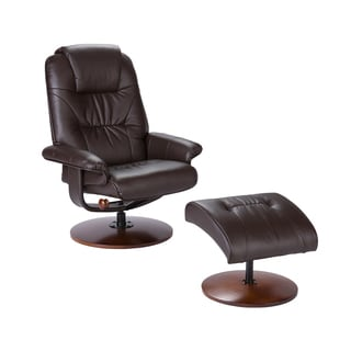 Harper Blvd Gramercy Brown Leather Recliner and Ottoman