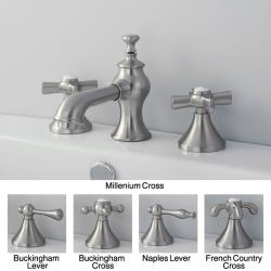 French Country Widespread Satin Nickel Bathroom Faucet - Thumbnail 0