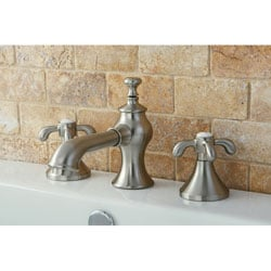 Shop French Country Widespread Satin Nickel Bathroom