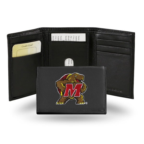 Maryland Terrapins Men's Black Leather Tri-fold Wallet