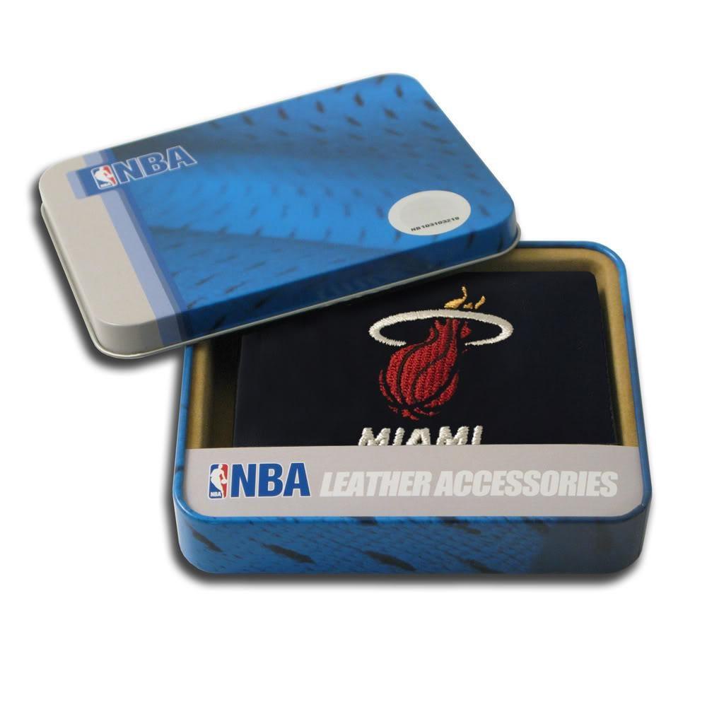 Miami Heat Men's Black Leather Tri-fold Wallet