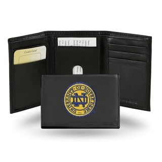 Notre Dame Fighting Irish Men's Black Leather Tri-fold Wallet