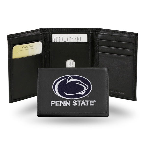 Penn State Nittany Lions Men's Black Leather Tri-fold Wallet