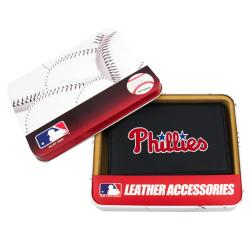 Philadelphia Phillies Men's Black Leather Tri-fold Wallet