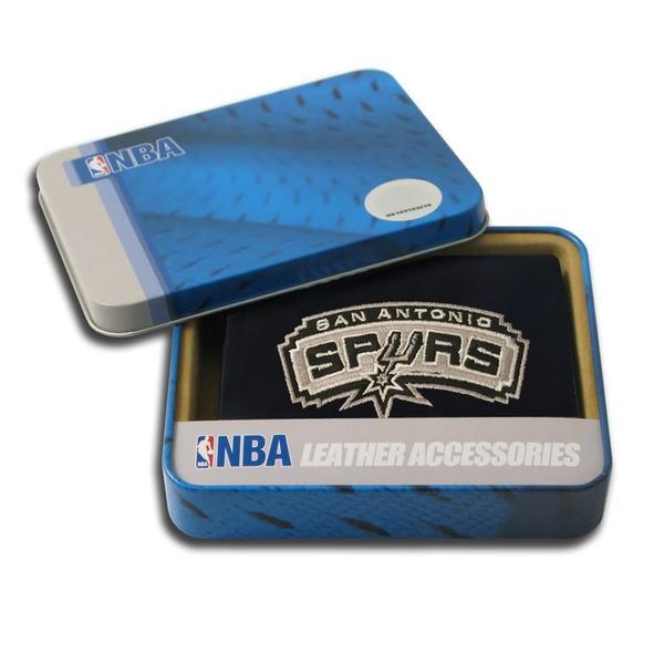 San Antonio Spurs Men's Black Leather Tri-fold Wallet