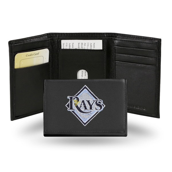 Tampa Bay Rays Men's Black Leather Tri-fold Wallet