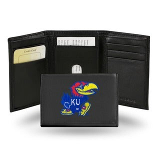 Kansas Jayhawks Men's Black Leather Tri-fold Wallet