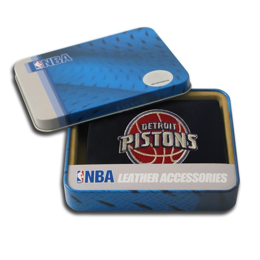 Detroit Pistons Men's Black Leather Bi-fold Wallet